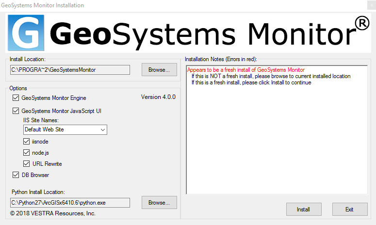 Installing GeoSystems Monitor Enterprise - VESTRA Reources Inc